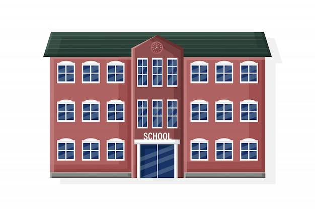School facade building isolated flat style