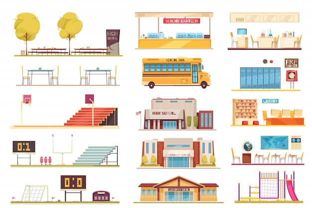 School facilities flat elements collection with sport stadium yellow bus building facade classroom bibliotheek interior