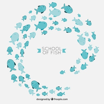 School of fishes background in hand drawn style