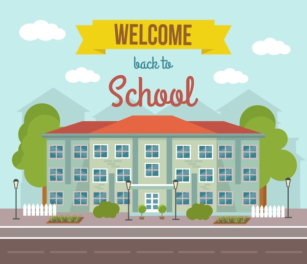 School flat colored illustration with building landscape and welcome back to school headline