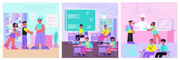 Composizioni piatte scolastiche con illustrazione di medico, insegnante e cuoco