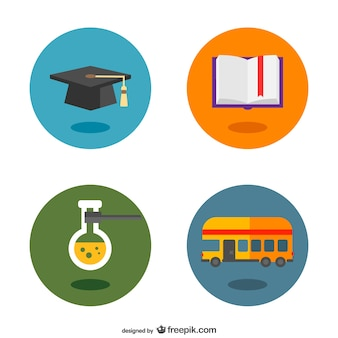School flat pictograms buttons set