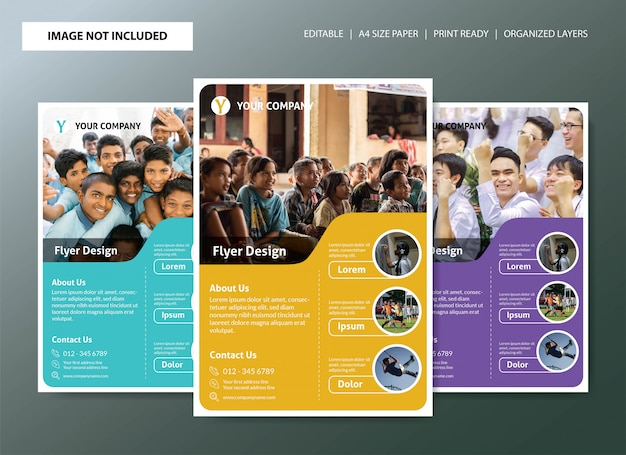 School flyer template design with 3 color choices