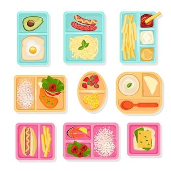 학교 음식 평면도. 어린이를위한 도시락 상자 제품 음료 스낵 피자 과일 및 야채 벡터 그림에 대한 케이스를 정렬합니다. 도시락, 스낵 및 식품 용기 그림