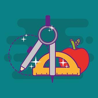 Школьная геометрия компас транспортир яблочные объекты