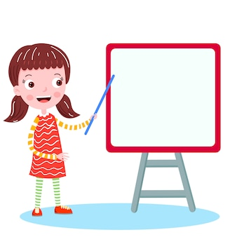 School girl on the board vector illustration