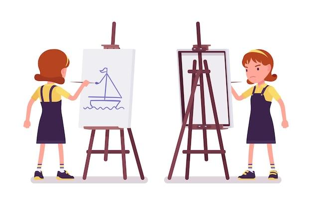 Школьница рисует картину на мольберте художника
