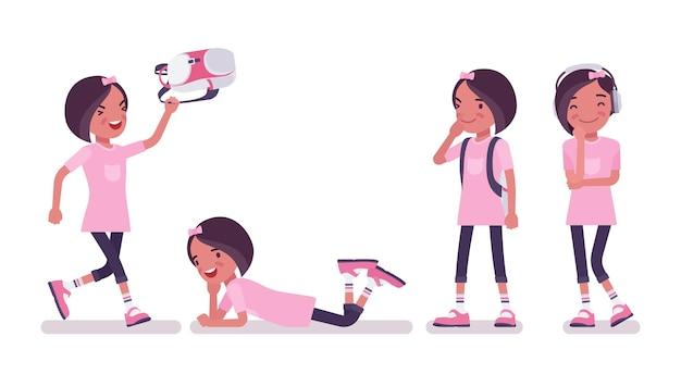 여가 시간을 즐기는 여고생. 수업 후 배낭을 메고 분홍색 티셔츠를 입은 귀여운 아가씨, 활동적인 어린 아이, 7, 9세 사이의 똑똑한 초등학생. 벡터 평면 스타일 만화 일러스트 레이 션