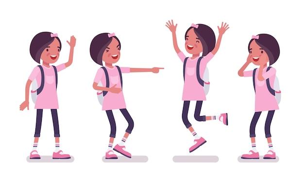 평상복을 입은 여학생, 긍정적인 감정. 배낭을 메고 분홍색 티셔츠를 입은 귀여운 아가씨, 활동적인 어린 아이, 7~9세 사이의 똑똑한 초등학생. 벡터 평면 스타일 만화 일러스트 레이 션