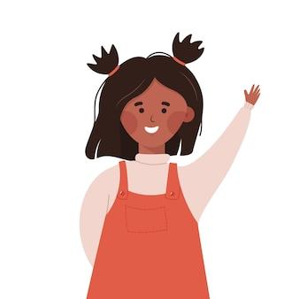 クラスの生徒の答えの教師の質問教育の概念の間に手を上げる女子高生