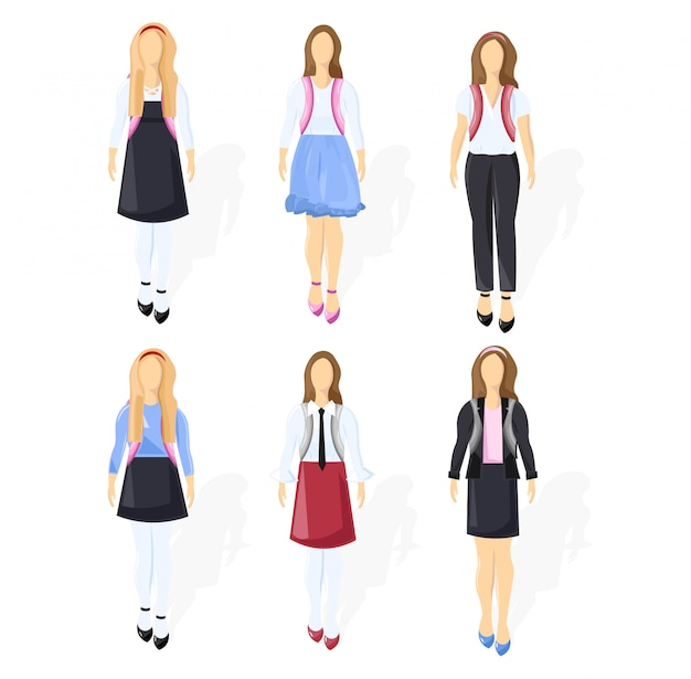 School girl set collection flat style isolated