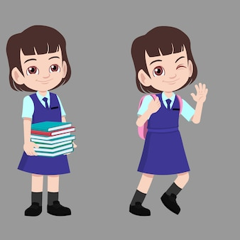 School girl in uniform carrying books and bag going back to school Premium Vector