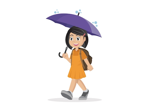 School girl with umbrella in the rain.