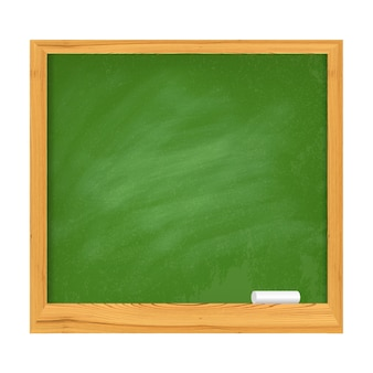 School green board with wooden borders and piece of chalk