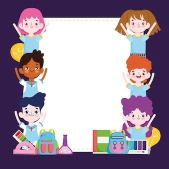 School group students cartoon with backpack book, blank banner  illustration