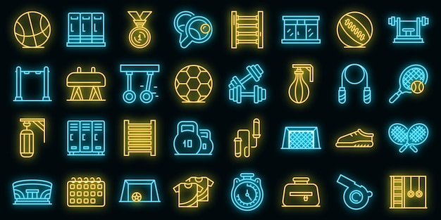School gym icons set. outline set of school gym vector icons neon color on black