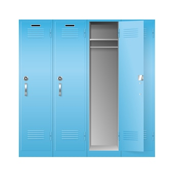 School and gym lockers, realistic metal boxes