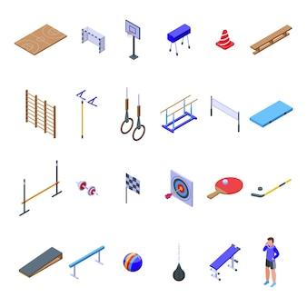 Комплект школьного спортзала. изометрические набор школьного спортзала для веб-дизайна, изолированные на белом фоне