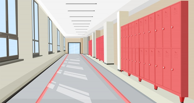 School hall with school lockers interior flat style illustration