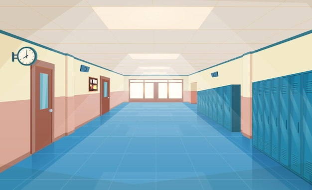 School hallway interior with entrance doors, lockers and bulletin board on wall. empty corridor in college, university with closed classrooms doors. vector illustration in a flat style