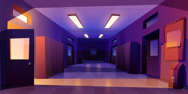 School hallway night interior with doors lockers