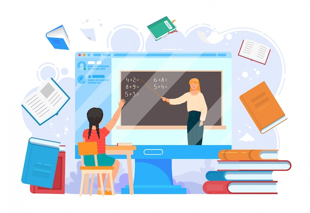 School home education online lesson . computer screen with teacher and girl education on laptop illustration. internet young student learning technology, course at university webinar