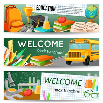 School horizontal banners set with yellow bus stationery chemical supplies textbooks award backpack microscope isolated vector illustration