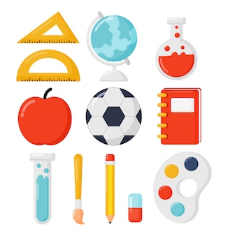 School icon set isolated on white background