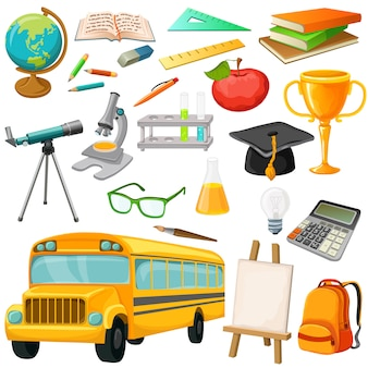 School icon set with isolated pic of bus school supplies and stationery vector illustration