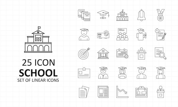 School icon sheet pixel perfect icons