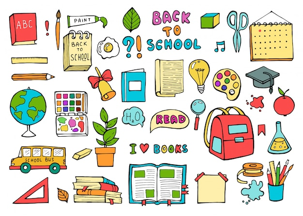 School icons. education supplies set in trendy doodle style.