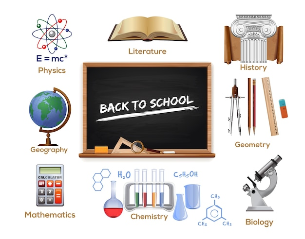 School icons set. school subjects. back to school.