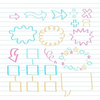Elementi di infografica scuola nella raccolta di pennarelli colorati
