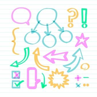 Elementi di infografica scuola in pennarelli colorati