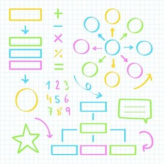 Elementi di infografica scuola con collezione di pennarelli colorati