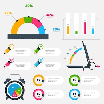 School infographic elements with colorful markers