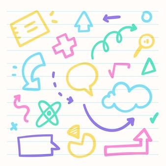 Школьные инфографические элементы с красочными маркерами