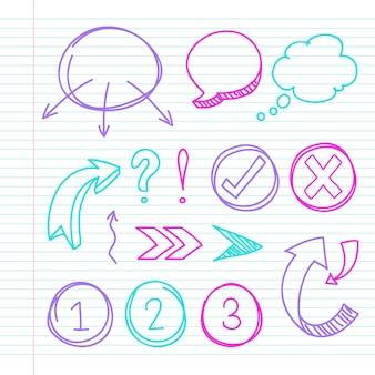 다채로운 마커와 학교 infographic 요소