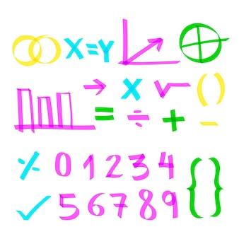 Elementi di infografica scuola con pennarelli colorati