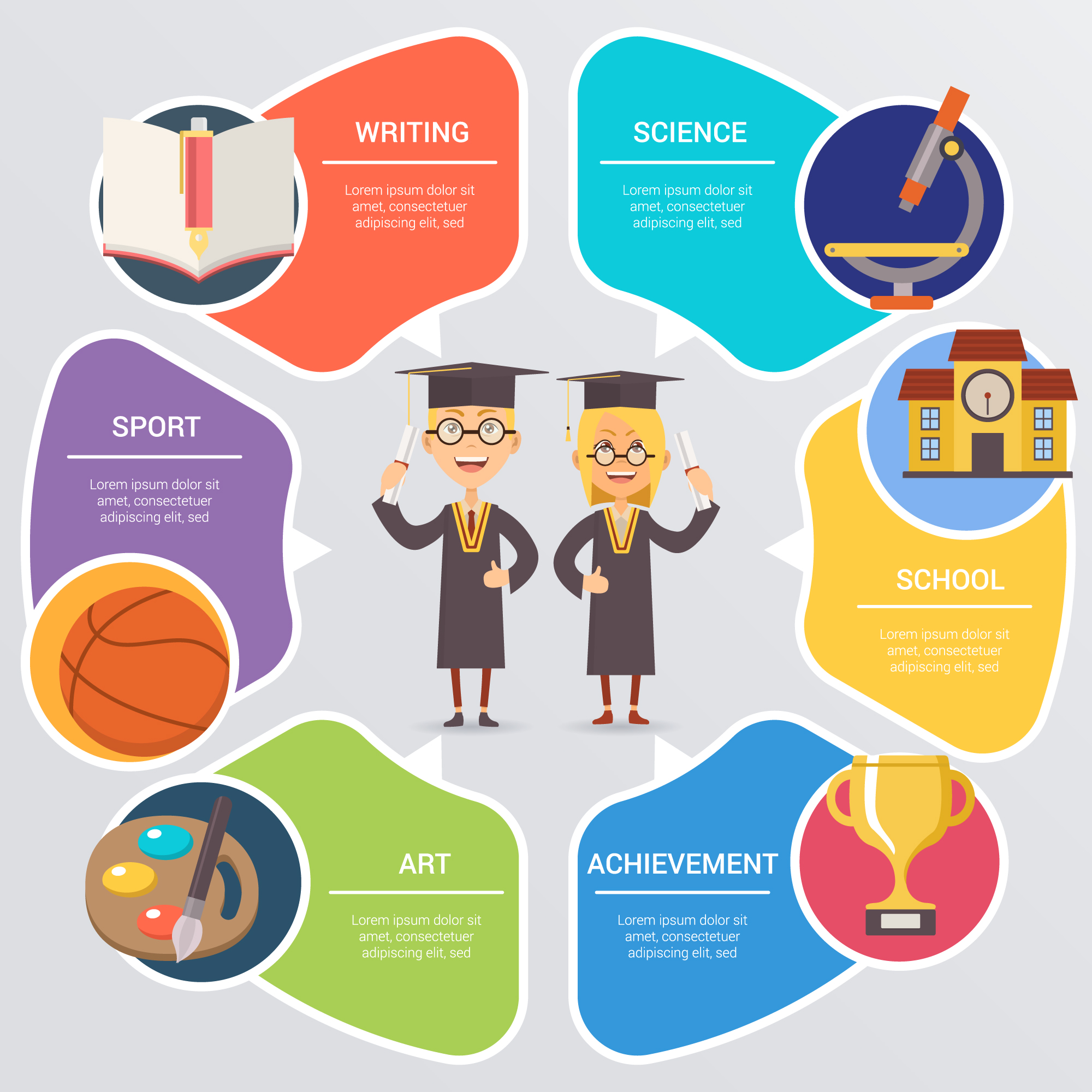 School infographic with students