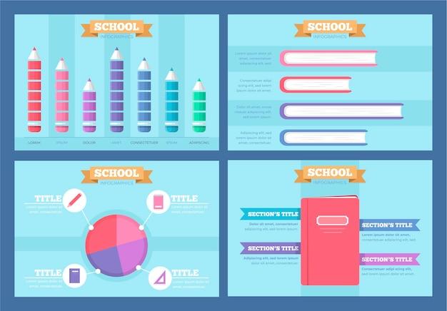 평면 디자인의 학교 인포 그래픽
