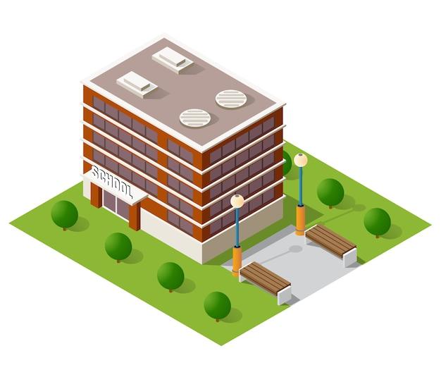 School isometric building study education