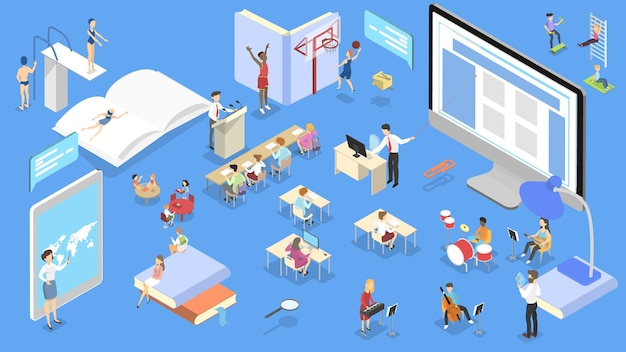 School isometric concept. children study and get education and knowledge.  isometric  illustration