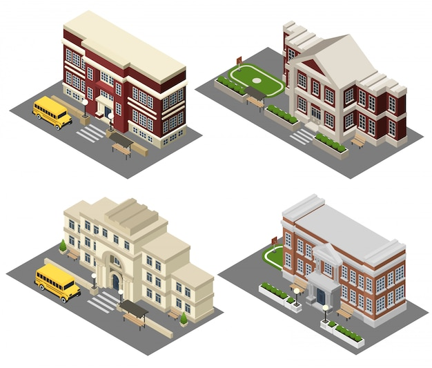 School isometric icons set