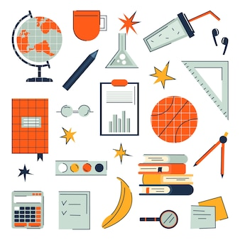 School items for education with globe, calculator, notebooks in trendy flat style