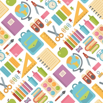 School items seamless pattern on white
