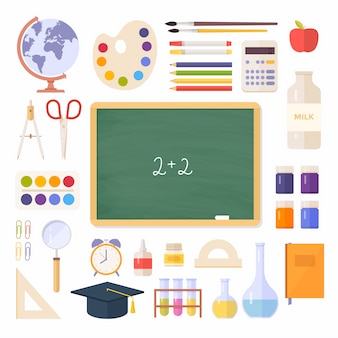 School items, supplies: schoolbook, school board, globe, paint, palette, magnifier, calculator isolated on white