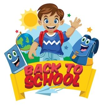 School kid cartoon set