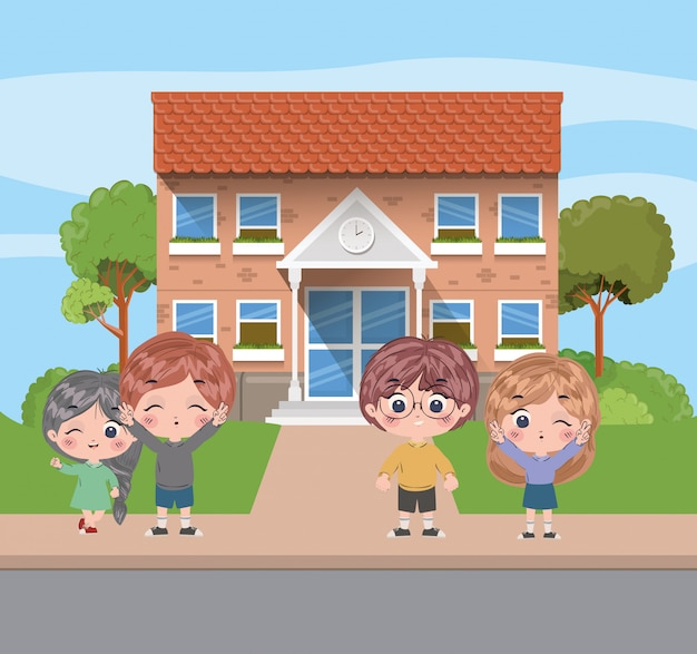 School kids cartoons vector design
