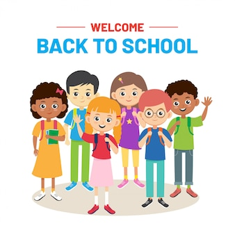 Толпа школьников. снова в школу баннер. многорасовые детские мальчики и девочки с рюкзаками. улыбающиеся ученики